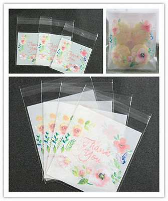 100 thank you Flower Self Adhesive Seal packing bags Cake Candy Bag