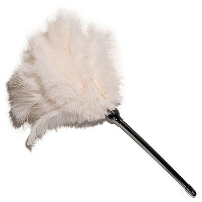 One white soft floss ostrich feather plastic handle 50cm first grade