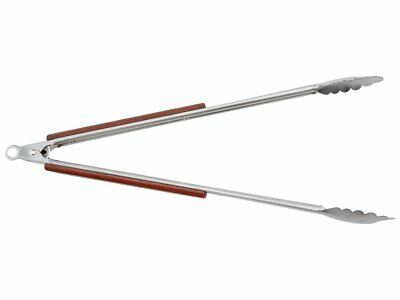 """RSVP 18"""" Locking Tongs Stainless Steel With Rose Wood Grips BBQ Grilling Durable"""