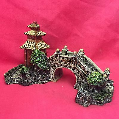 "Fish Ornament Asian Zen Oriental Tower & Bridge 6"" Aquarium Tank Decoration"