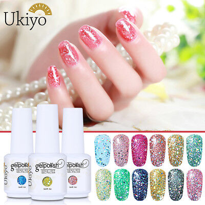 Ukiyo Diamond Glitter Soak-off Gel Polish UV LED No Wipe Top Base Coat Manicure