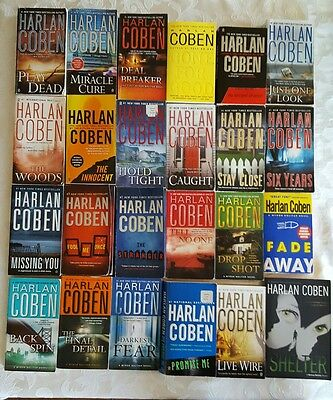 24 Harlan Coben Lot  8 Myron Bolitar and others FREE SHIPPING