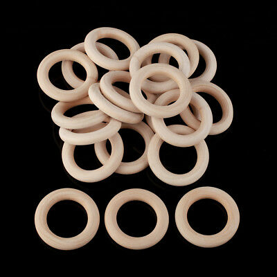 20pcs Unfinished Natural Wooden Teething Rings Curtain Craft 55mm
