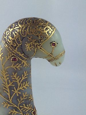 """ANTIQUE MUGHAL STYLE BEAUTIFUL CARVED """"NEPHRITE JADE"""" RAM'S HED HANDEL LATE 19th"""
