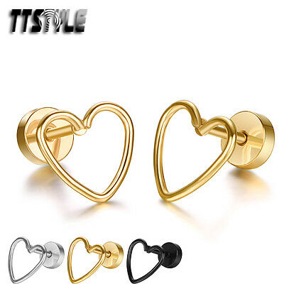 TTstyle Stainless Steel Hollow Heart Fake Ear Plug Earrings 3 Colours NEW Pair