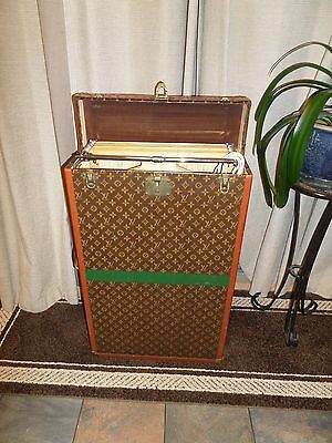 Antique Louis Vuitton Flip Top Steamer Trunk Wardrobe Suit Case Bar Cabinet