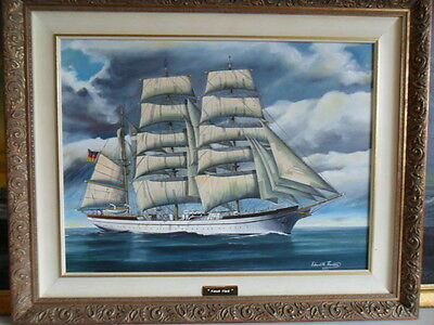 Oil Painting German Naval Sail Training Ship GORCH FOCK  by Ted Thornton 1998