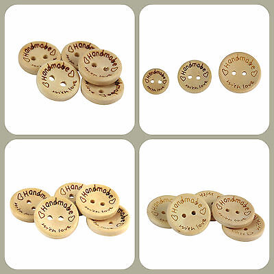 "50 x 15mm, 20mm, 25mm or Mixed Sized Wooden ""Handmade With Love"" Buttons"