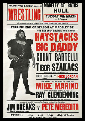 Big Daddy Giant Haystacks Wrestling Repro POSTER Hull