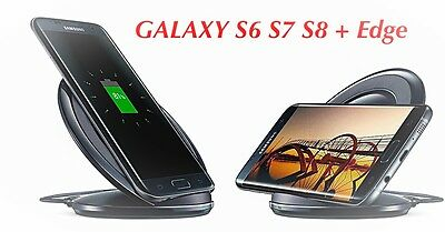 Samsung  FAST Wireless Qi Charging Stand Black for Galaxy S6 S7 Edge S8 + Note 5