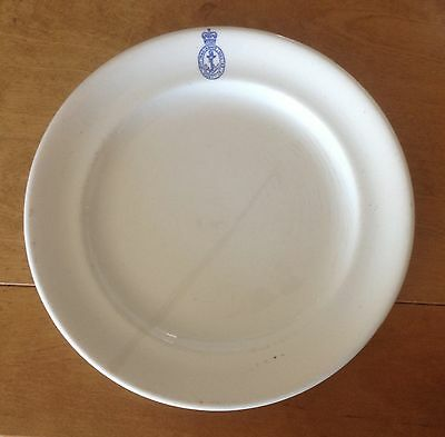 A heavy British Royal Navy white porcelain mess plate - well marked