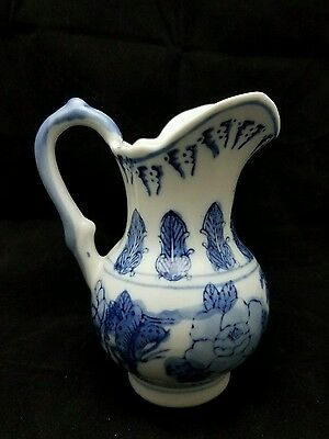 Antique Vintage Porcelain White And Blue Creamer Hand Painted