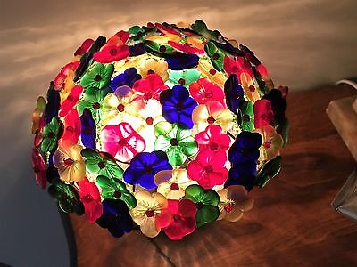 Antique Vintage Czech Czechoslovakia Colorful Art Glass Beaded Flower Lamp Shade