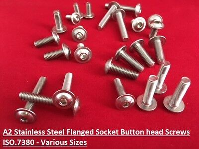 A2 Stainless Steel Flanged Button Head Bolts, Hex Allen Socket Screws M5 or M6