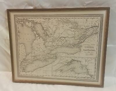 Original Vintage Antique 1846 Map of Ontario, Upper Canada or Canada West FRAMED