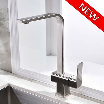 New Kitchen Bar Sink Faucet Modern Stainless Steel Brushed Nickel Single Handle