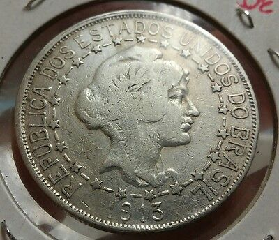 Brazil 2000 Reis, 1913 Silver Crown, Last of the Big Silvers