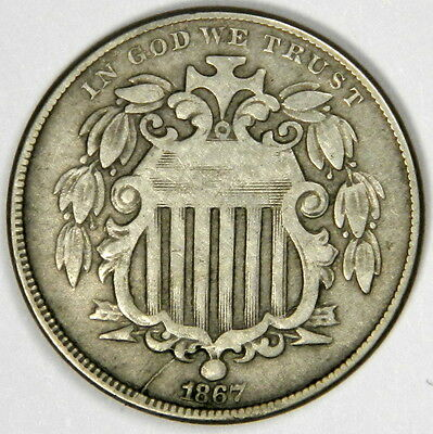 1867 Shield Nickel - No Rays - Solid Fine, Reverse Spots - Priced Right!