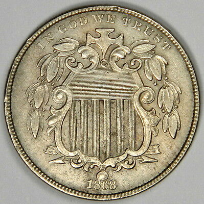 1868 Shield Nickel - Nice Au/bu About Uncirculated - Priced Right!