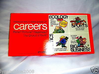 Vintage Careers Board Game By Parker Brothers 1971
