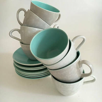 Poole Pottery England Twintone Ice Green Seagull  Demitasse Duos Set of  8