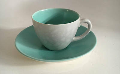 Poole Pottery England Twintone Ice Green and Seagull  Demitasse Espresso Set
