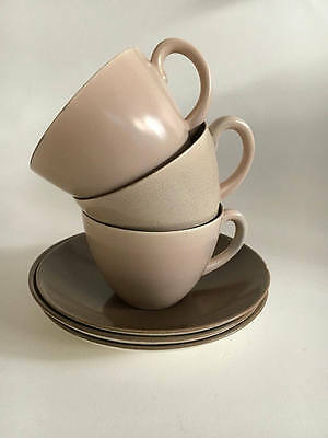Twintone Thomas Poole England Poole Pottery Espresso Demitasse Set of Three (3)