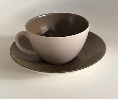 Twintone Thomas Poole England Duo of cup and saucer C54 Mushroom and Sepia