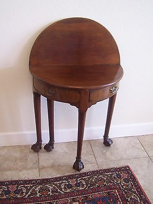 Antique English Mahogany DemiLune Tea Table, ca. 1750, Very Small, Rare