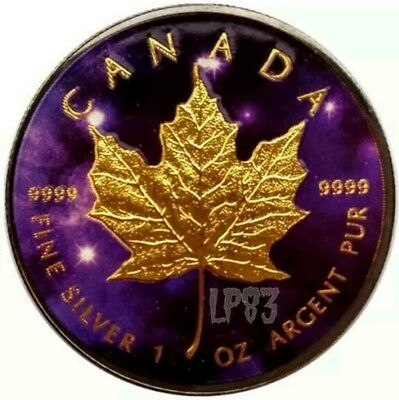 2016 1 Oz Silver Maple Leaf UNIVERSE Coin ,Ruthenium And 24K Rose Gold Gilded.