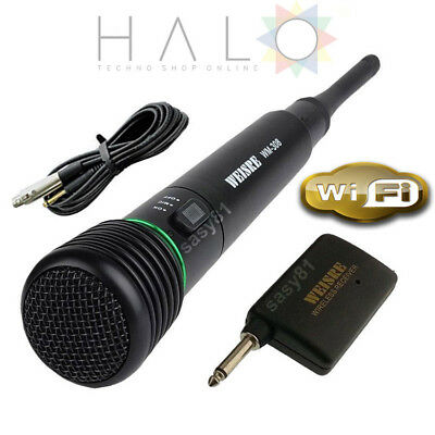 Microfono Professionale Wireless 2 In 1 Per Karaoke Con Filo E Antenna Wifi