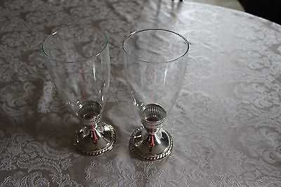 Pair of Weighted Mayflower Sterling Silver Candle sticks with Hurricane Globes