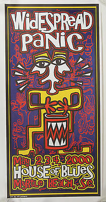 Widespread Panic Poster 2000 House of Blues Myrtle Beach Signd Lucchesi 129/1000