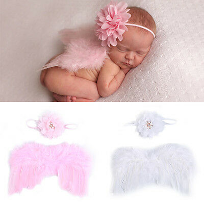 Newborn Baby Feather Lace Flower Pearl Headband &Angel Wings Photograph Props