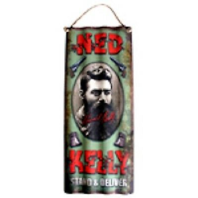 NED KELLY CAMEO Corrugated Tin WALL SIGN - Man Cave Pool Room