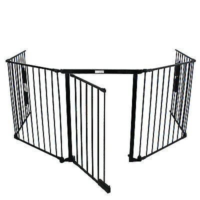 """Used 25"""" x 30"""" Baby Pet Dog Safety Gate Playard Extra Wide Kid Metal Fence Black"""