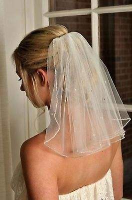 1 Layer 45cm Beaded Wedding Veil Short White /Ivory Bridal Veils with comb