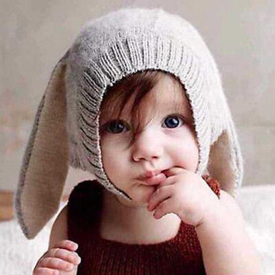 YH Cute Rabbit Ears Kids Baby Boy Girl Warm Beanie Infant Toddler Knit Hat Cap
