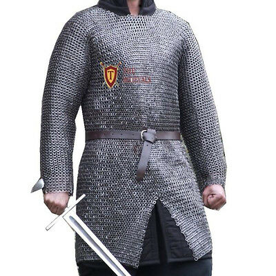 XXL CHAINMAIL HAUBERK MEDIEVAL SHIRT MILD STEEL 10mm RIVETED flat ring & washer