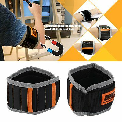 Magnetic Wristband Belt Bag For Holding Screw Nail Drill Bits Repair Tools ZP