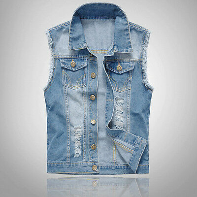 Men Denim Vest Sleeveless Washed Jeans Waistcoat Ripped Jacket Plus Size 6XL
