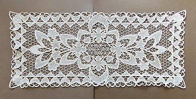 Vintage 1980s Hand Crotcheted Cream Cotton Lace Table Runner