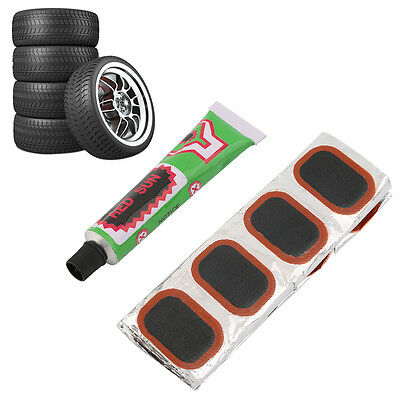 48pcs Bike Tire Bicycle Kit Patches Repair Glue Tyre Tube Rubber Puncture UO