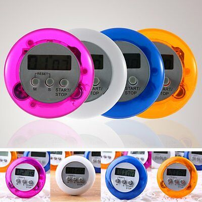 Cute Mini Round LCD Digital Cooking Home Kitchen Countdown UP Timer Alarm UO