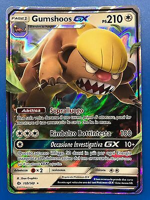 GUMSHOOS GX ☀ ☾ Carta Pokemon Sole e Luna in Italiano 110/149 Rara foil Ps 210