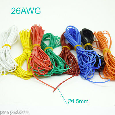 1M/3.3ft 26AWG Flexible Soft Silicone Wire Tin Copper RC Electronic Cable 8color