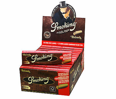 1 Box Smoking BROWN King Size Papers 24 x 33 Blättchen mit 24 x 33 Filtertips