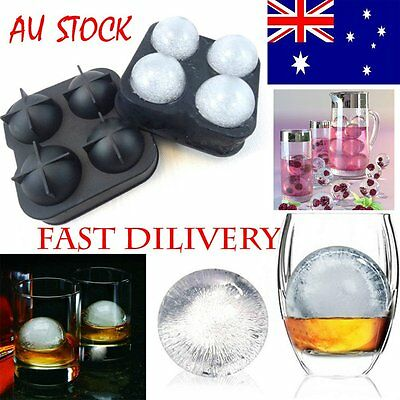 Round Ice Balls Maker Tray FOUR Large Sphere Molds Cube Whiskey Cocktails UO