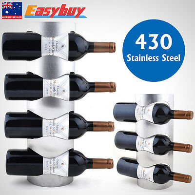 Wall Mounted Wine Rack Stainless Steel 3/4 Bottle Holder Towel Storage Bar Stand