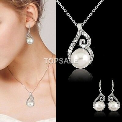 18K White Gold Genuine Crystal Wedding Pearl Necklace Earrings Set